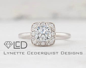 Art Deco 6mm Square Cushion Cut Forever One Moissanite and Diamond Square Decorative Halo Engagement Ring LCDH009