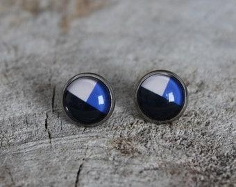 Petites merveilles geo bleu noir // earrings // fait au quebec   (BO-1199)