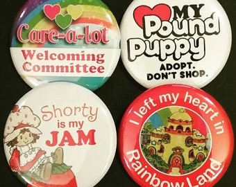 80s Cartoons Buttons OR Magnets, Set of 4