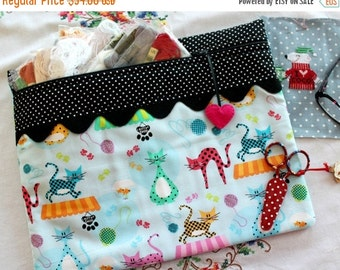 SALE Polka Dot Kitty Cats Cross Stitch, Sewing, Embroidery Project Bag
