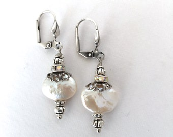 Coin Pearl And Silver Filigree Dangle Leverback Earrings by rtistmary