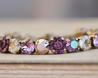 Sugar Plum,Amethyst Purple,Lilac Shade Rose Gold Bracelet,Metallic Gold Rose Gold 8mm Tennis Bracelet,Flower Embellished,Stacking
