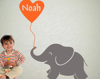 "Elephant Wall Decal with Personalized Boys Name - Baby Elephant wall art  42"" x 50"""