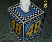 Jimmie Johnson Plastic Canvas Tissue Box Cover