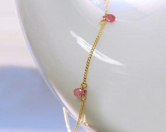 Tourmaline Bracelet by Agusha. Pink Tourmaline Bracelet. Delicate Gemstone Bracelet