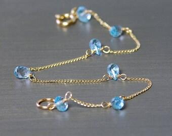 Dainty Blue Topaz Bracelet by Agusha. Topaz Bracelet. Sterling Silver, Gold Filled ,Gemstone Bracelet. Blue Gemstone Bracelet