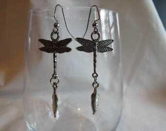 Dragonfly and Feather Dangle Earrings on Silver Ear Wires, Earrings, Dragonfly, Feather, Dangle, Silver Ear Wires