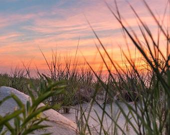 Sand Dune Sunrise Photography Print, Beach Art Print, Atlantic Coast Ocean Sunrise, Long Beach Island NJ, Harvey Cedars Photo