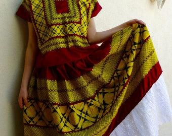 Classic Tehuana costume traje  marroon satin gold black cadinella geometric embroidery boho Frida Kahlo - Oaxaca Mexico - medium/large