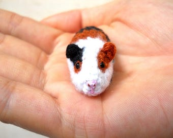 Mini Crocheted Guinea Pig - Miniature Tricolor Guinea Pig Stuffed Animal - Made To Order
