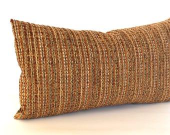 Lumbar Pillow Cover Rust Pillow Stripe Chenille Upholstery Fabric Decorative  Pillow Oblong Throw Pillow Cover 12x24