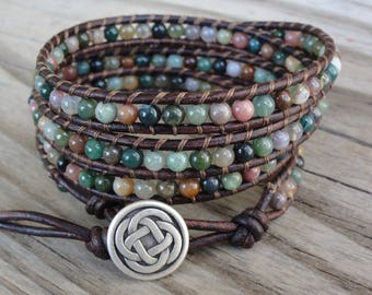 RESERVED for Kelly:  5x Leather Wrap Bracelet with 4mm Fancy Jasper Beads - Five Wrap