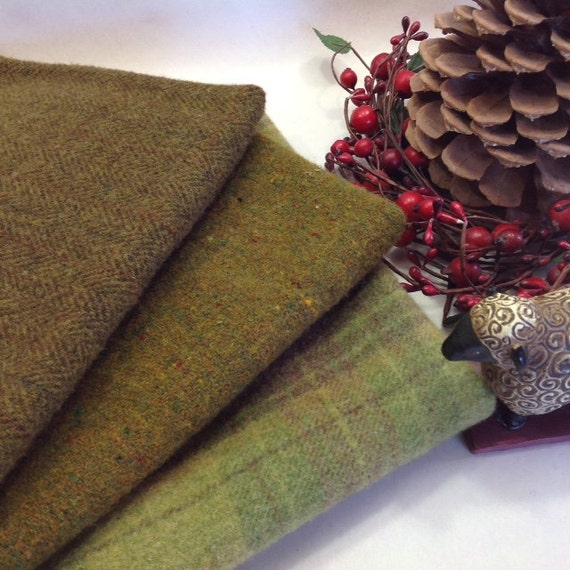 Forest Greens, Wool for Rug Hooking and Applique, 3) Fat Eighths, W239, Pine Green, Mossy Green, Warm Green