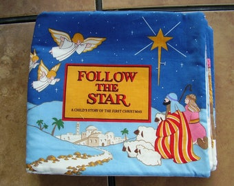 Follow the Star Baby Jesus Birth Quiet Soft Fabric Baby Toddler Story Book Handmade Ready to Read