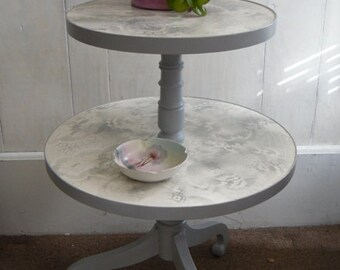 2 tier Table Round Painted Furniture Shabby Chic Decor