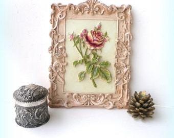 Shabby Chic Picture Ornate Distressed Hand Painted Rustic Nursery 2017 Wedding Style Decor Upcycled Neutral Beige Pink Green Red
