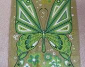 FINGOL // Green Butterfly Vintage Novelty Cotton Linen Kitchen Hand Towel