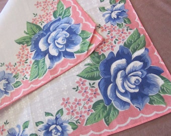 Hankie Beautiful White Pink Floral Cotton Vintage Hankie Handkerchief - New Unused