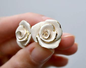 Rose stud earrings - hand-sculpted ceramic flower earrings - white rose studs - ceramic jewelry