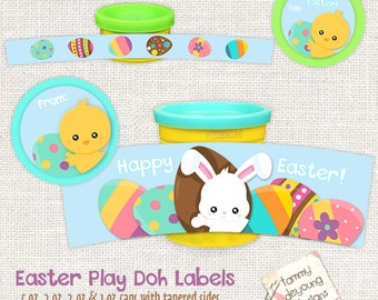 Easter Bunny Labels, Easter Basket Party Favors,  labels fit Play Doh® cans. Easter printable, basket stuffers, non-candy treats for kids