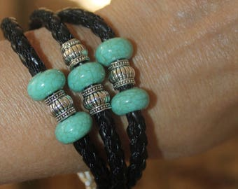 Hamsa bracelet, Hamsa charm bracelet, cuff bracelet, black bracelet, leather bracelet, womens bracelets, turquoise bracelet