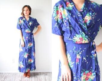 Vintage BOHO maxi dress // blue modest garden floral maxi dress // hippie boho // bohemian goddess dress // wrap vacation long dress