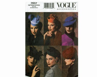 Vogue Accessories Vintage Hats Vogue 7657 Uncut Sewing Pattern one size Out of Print Millinery Evening and Cocktail Hats Formal British