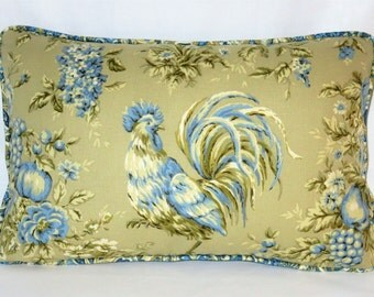 Blue and Tan Chicken Pillow Waverly Rendezvous Gorgeous Rooster Chambray Swept Away Paisley Periwinkle Ready Ship Cover and Insert
