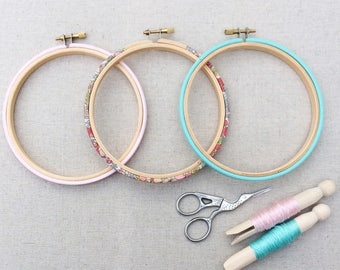 Hand Embroidery Hoop Set. Frame Set. Available in five sizes. Cross Stitch Hoops, Liberty London, Tana Lawn fabric.