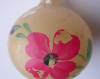 FLOWER BALL 1960s Hand-painted Soviet USSR Glass Vintage Christmas Tree Ornament