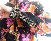 """Men's Button Up Shirt Long Sleeve Black Floral Cotton Sizes M/L/XL Chest 37-46"""""""