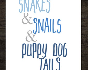 Snakes and Snails and Puppy Dog Tails Blue Ombre Little Boy Nursery Decor Printable Artwork / 8x10 Instant Art Print