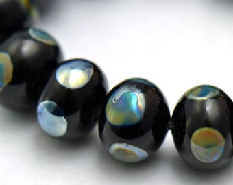 Lampwork Beads Silver Dots on Black Glass Set of 13