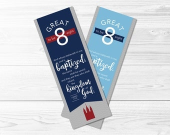 Great To Be Eight Bookmarks -- Navy & Red, Light Blue, Gray, LDS Baptism Preview, Party Favors, Great To Be 8, Printable, Instant Download