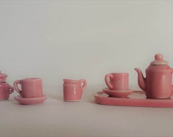10 miniature dollhouse dishes | miniature pink tea set | pink dollhouse tea set | miniature dishes | dollhouse miniatures | shadow box cup