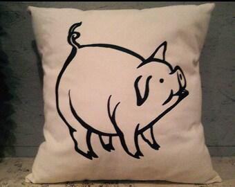 Pig Pillow Cover - Farm Pillow Cover - Pillow Cover With Pig - Heat Press Vinyl -Throw Pillow - Canvas Pillow