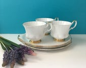 Royal Albert Val d'Or snack plate sets - set of 3 - plate and tea cup - 1960s