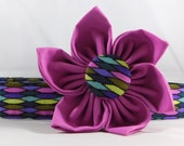 Dog Collar  with Flower - Sea Waves - All Sizes