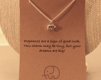 Elephant Wish Necklace: Tiny Elephant Charm Necklace, Wish Jewelry, Wish Necklace, Best Friends, Good Luck, Friendship
