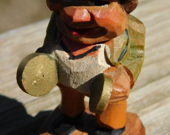 Vintage Hand Carved German or Italian Man Playing Cymbals Misc Box