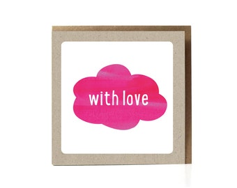 With love Card, Love, Lots of Love, Greeting Card, Pink, Valentine, Thinking Of You Card, Valentine's Day, Care, Caring Phrase, Cloud