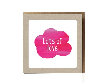 Lots of Love Greeting Card, Pink Cloud, Card for wife, Pink Greeting Card, cute I love you card, i love you card, thinking of you, love you