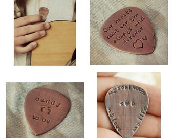 Personalized Guitar Pick, Custom Guitar Pick, Copper Guitar Pick, Father's Day Gift