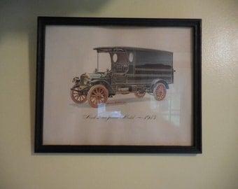 vintage 1930s to 1940s print mack 2 ton junior model 1913 vehicleautomotivetruck wall hanging picture howard nostrand jr in black frame