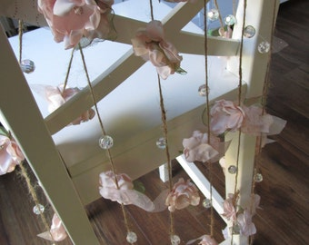 Fabric flower garland, Rustic Wedding garland, Backdrop decoration Shabby chic flower decoration, Blush pink garland, Party decorations