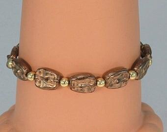 Gold bracelet, face beads, hypoallergenic jewelry, Czech glass bracelet, antique gold bracelet