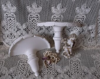 Vintage shabby white wood shelf pair, French country, Vintage painted