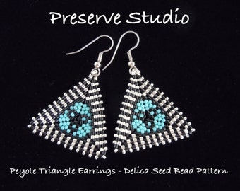 Striped Border Peyote Triangle Delica Seed Bead Pattern, Peyote Earring Pattern, DIY Earrings, Peyote Stitch, Triangle Earrings