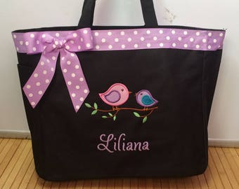 Personalized Girl  Tote Bag Baby Diaper Bag Woodland Birds Bird on a vine