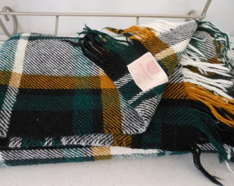 TROY Vintage Wool Blend Blanket Throw Kelly Green Camel Black White Plaid